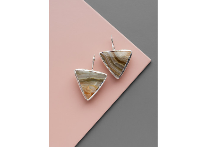 Серьги с треугольным агатом // серебро