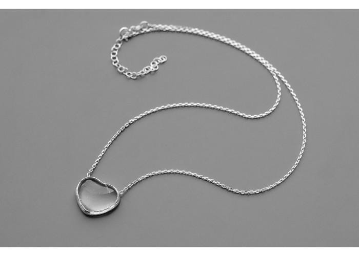 Подвеска сердечко с горным хрусталём // серебро
