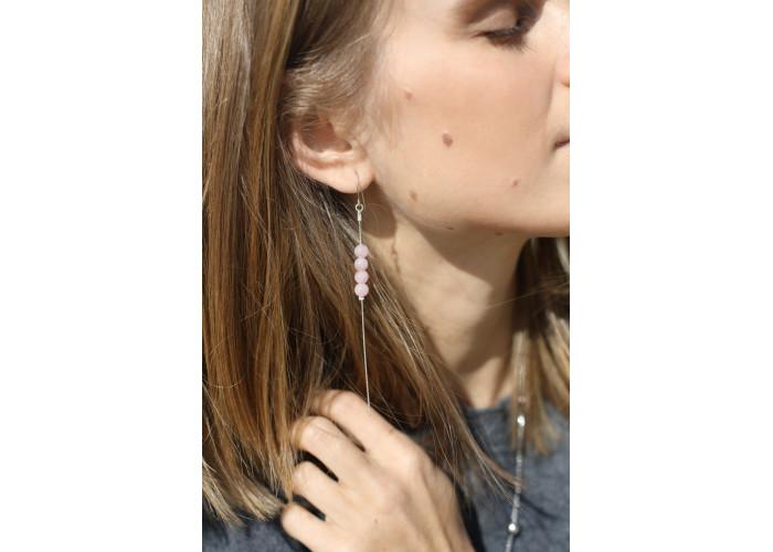 Серёжки-цепочки с бусинами розового кварца // серебро