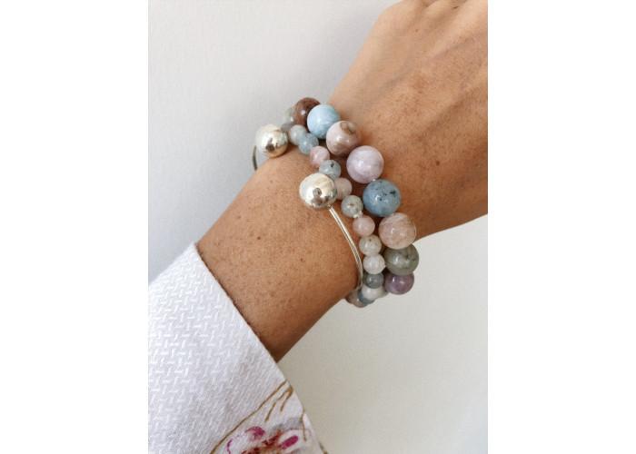 Комплект: сотуар, серёжки и браслет с бусинами берилла // серебро