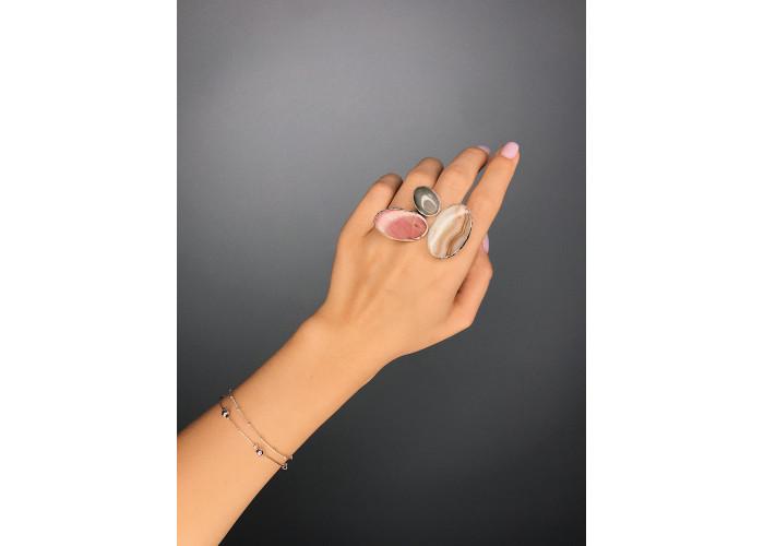Кольцо с агатом, родонитом и яшмой // серебро