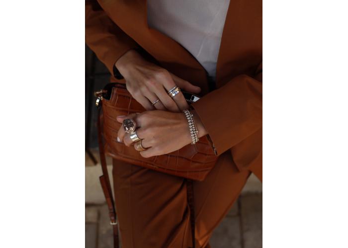 Кольцо-спиннер минимализм // серебро с позолотой