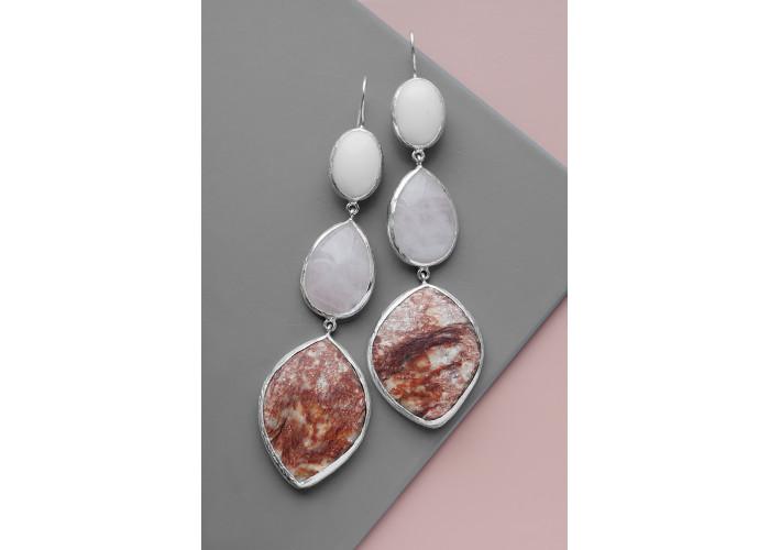 Серёжки с белым агатом, розовым кварцем и авантюрином // серебро