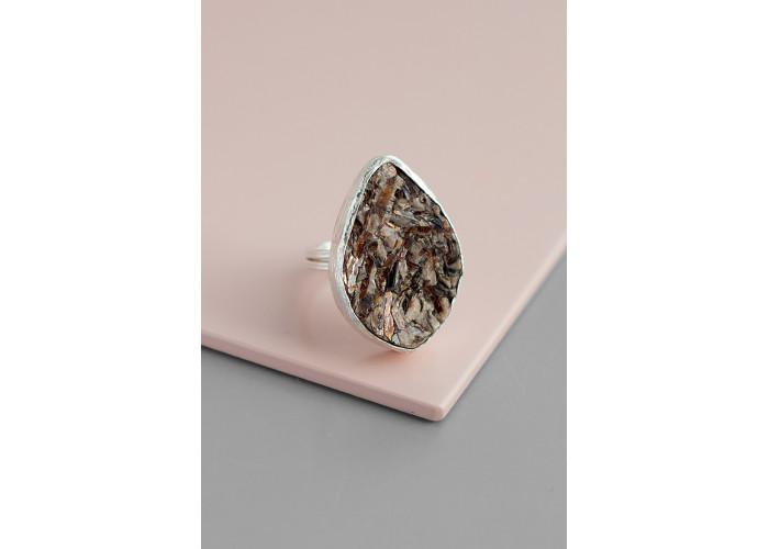 Кольцо с листиком астрофиллита // серебро