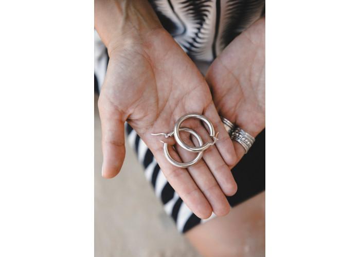 Серёжки-кольца 3.5 см // серебро