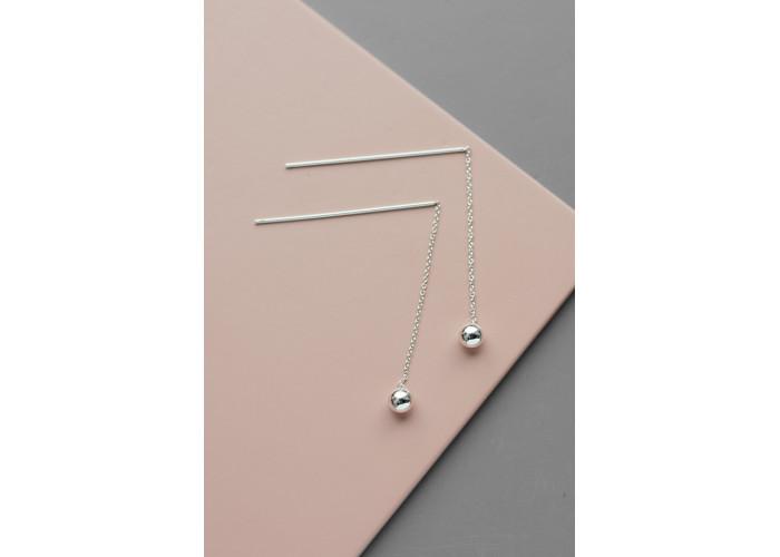 Сережки-цепочки с шариком // серебро