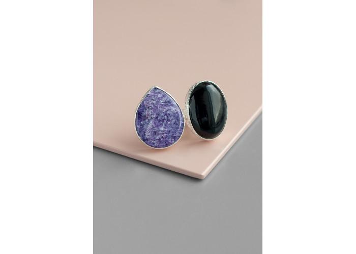 Кольцо с чароитом и чёрным агатом // серебро