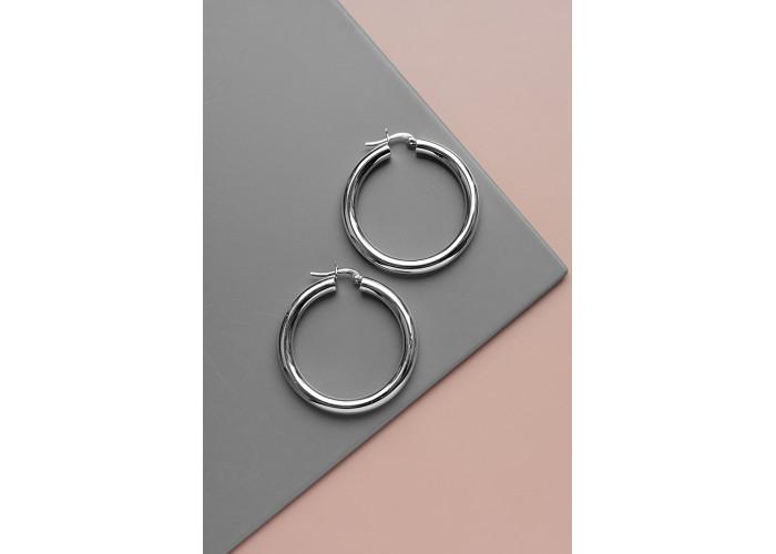 Серёжки-кольца 4 см // серебро