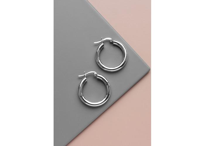 Серёжки-кольца 3 см // серебро