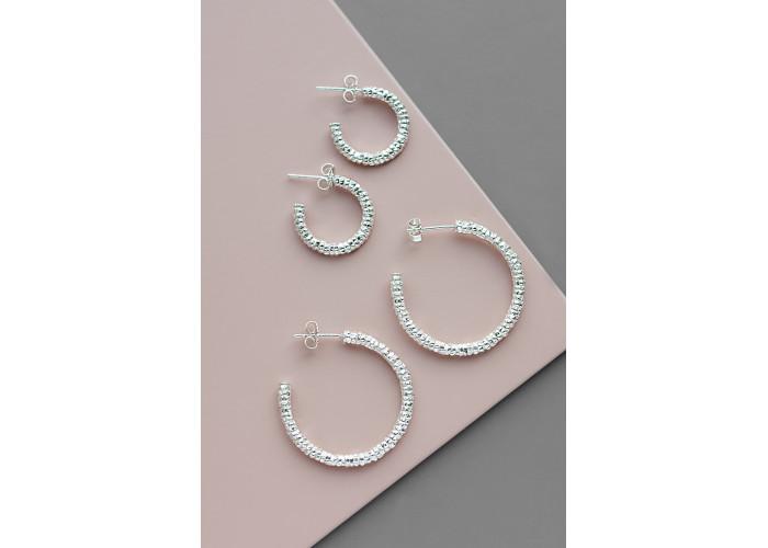 Комплект: серёжки-конго большие и маленькие // серебро