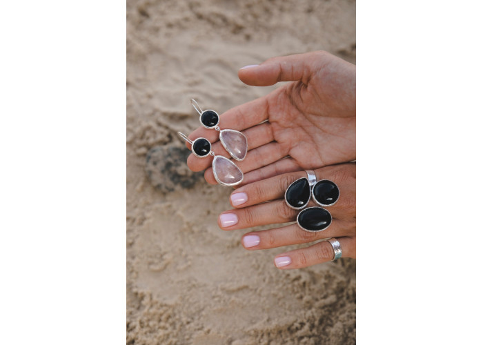 Кольцо с чёрным агатом // серебро
