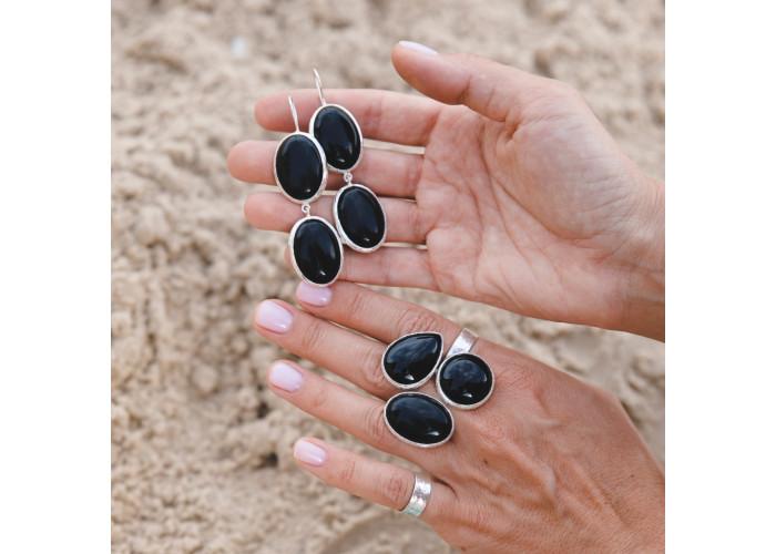 Серёжки с чёрным агатом // серебро