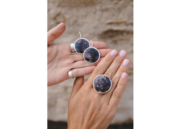 Кольцо с круглой яшмой // серебро