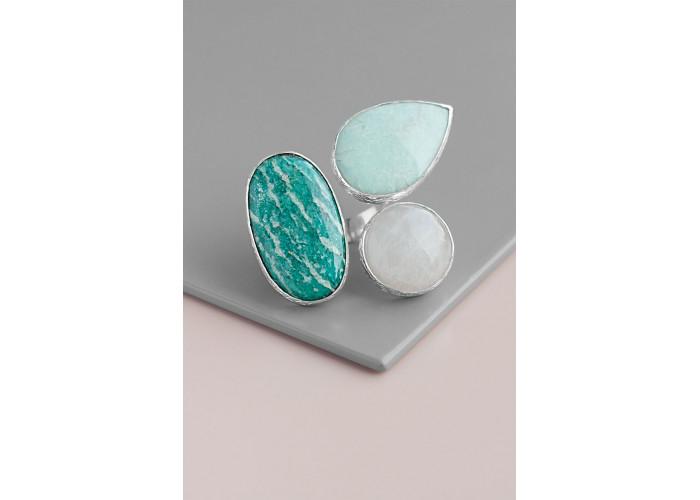 Кольцо с амазонитом, бериллом и розовым кварцем // серебро