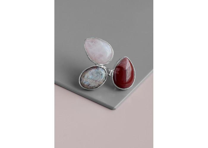 Кольцо с яшмой, розовым кварцем и лунным камнем // серебро