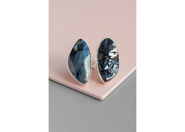Кольцо с тиманским агатом и гематитом // серебро