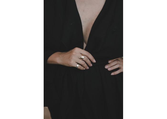 Кольцо-спинер минимализм // серебро с голдфилдом