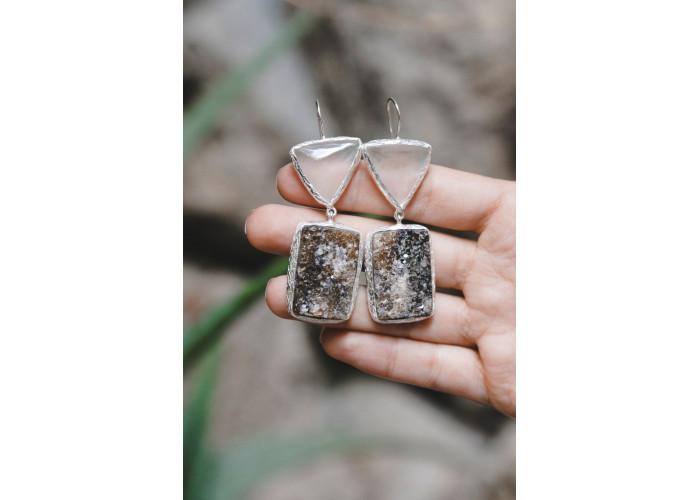 Серёжки с кварцем и щёткой граната // серебро
