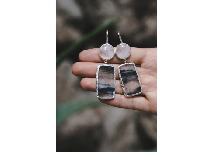 Серёжки с горным хрусталём и льдистым кварцем // серебро