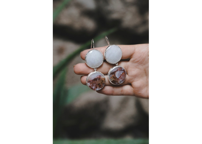 Серёжки с кварцем и кварцем с ожелезнением // серебро
