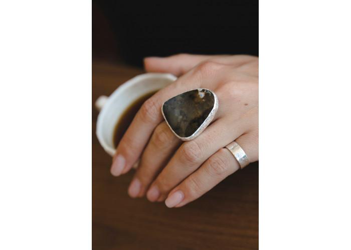 Кольцо с моховым агатом // серебро