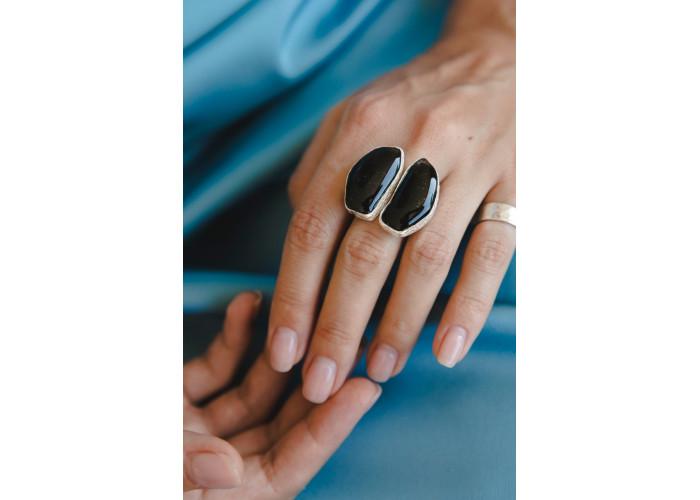 Кольцо с двумя турмалинами // серебро