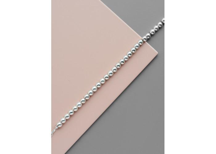 Браслет сплошной с серебряными бусинами 5 мм // серебро