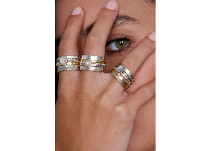 Кольцо-спинер с жемчугом // серебро с позолотой