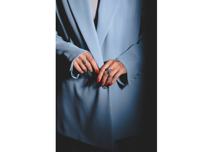 Кольцо с тремя кианитами // серебро