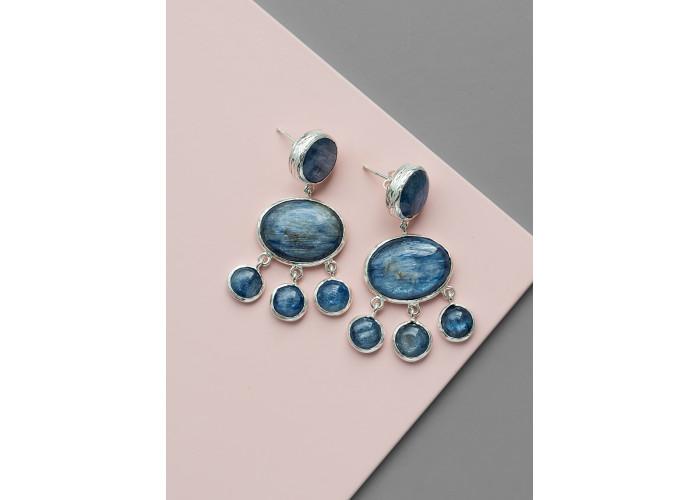 Серьги-мобили с кианитами // серебро