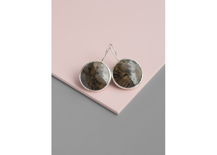 Серьги круглые с моховым агатом // серебро