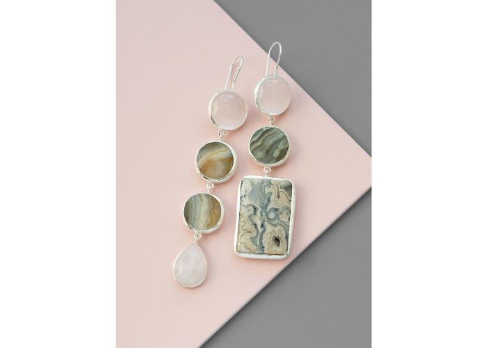 Серьги с горным хрусталём, агатом, розовым кварцем и яшмой // серебро