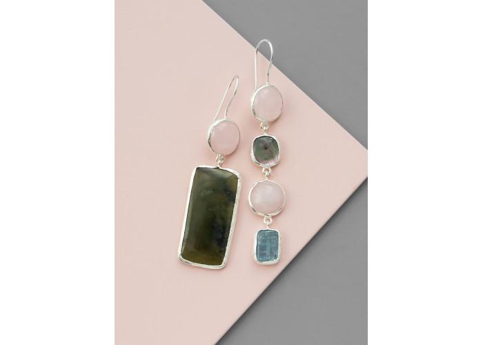 Серьги с розовым кварцем, перламутром, нефритом и аквамарином // серебро