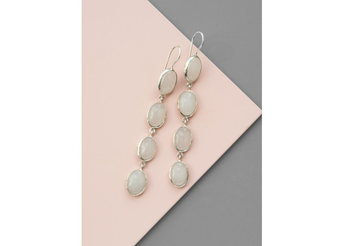 Серьги с овальными жадеитами // серебро