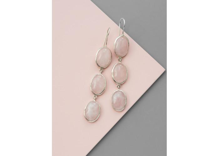 Серьги с овальными камнями розового кварца // серебро