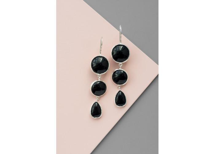 Серьги с круглыми и каплей чёрного агата // серебро