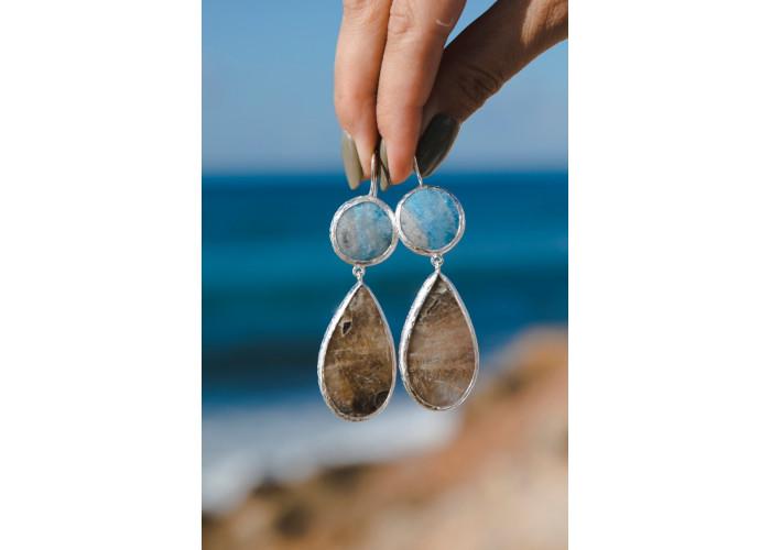 Серьги с круглым виоланом и лунным камнем // серебро