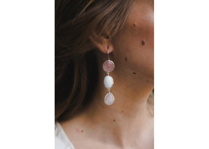 Серьги с розовым кварцем и белым агатом // серебро
