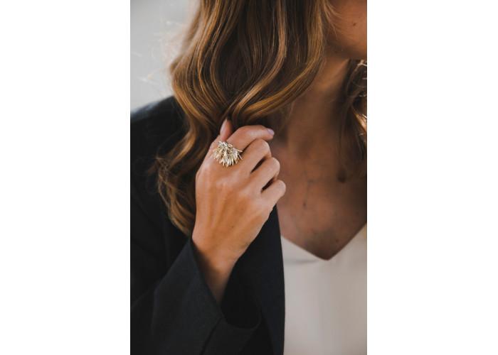 """Комплект: серьги, кольцо и браслет """"Розмарин"""" // двухцветный"""