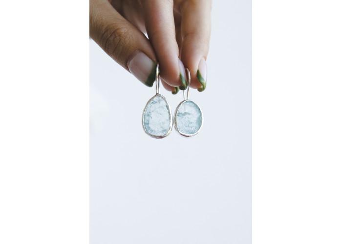 Серьги с аквамарином // серебро