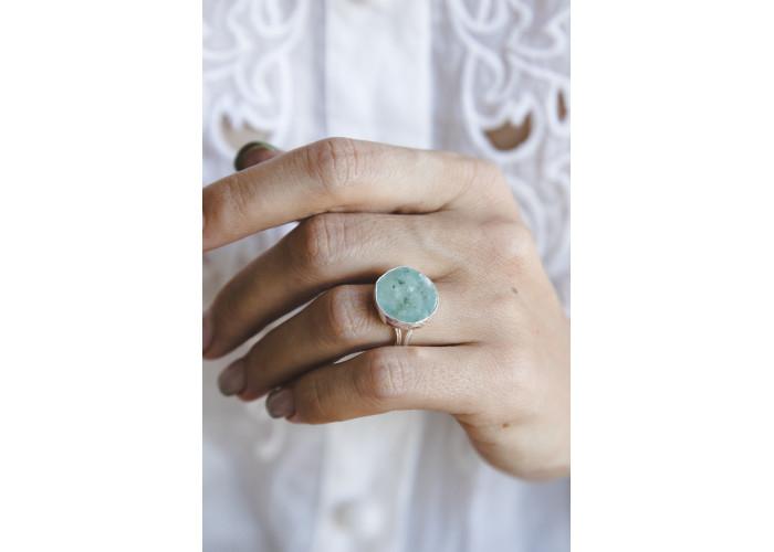 Кольцо с аквамарином // серебро