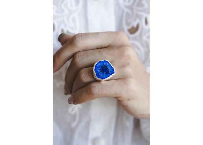 Кольцо с азуритом // серебро