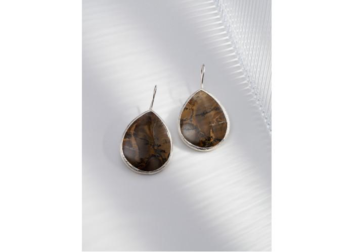 Серьги с каплей мохового агата // серебро