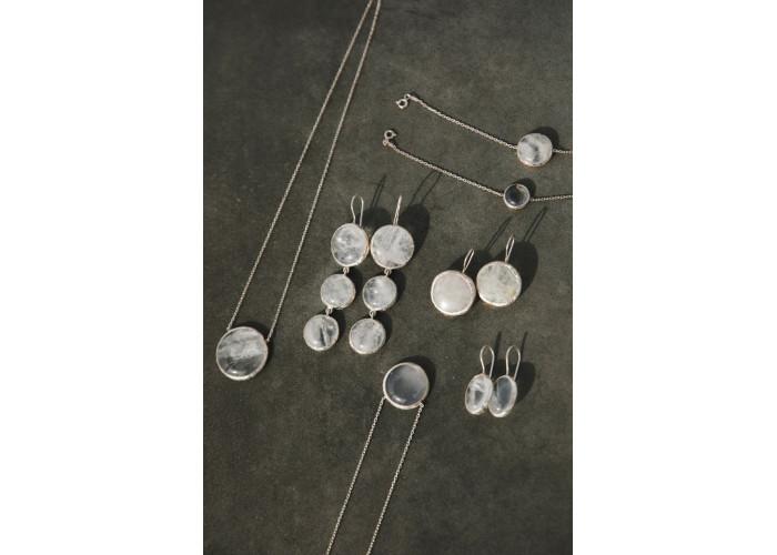 Серьги овальные с горным хрусталём // серебро
