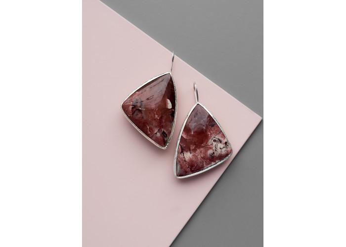Серьги с треугольной яшмой // серебро