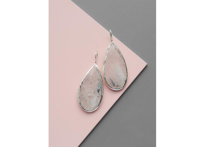 Серьги с каплей льдистого кварца // серебро