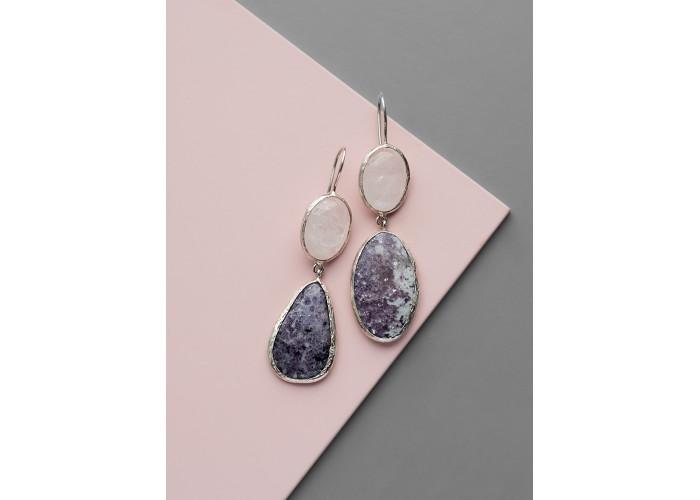 Серьги с горным хрусталём и лепидолитом // серебро