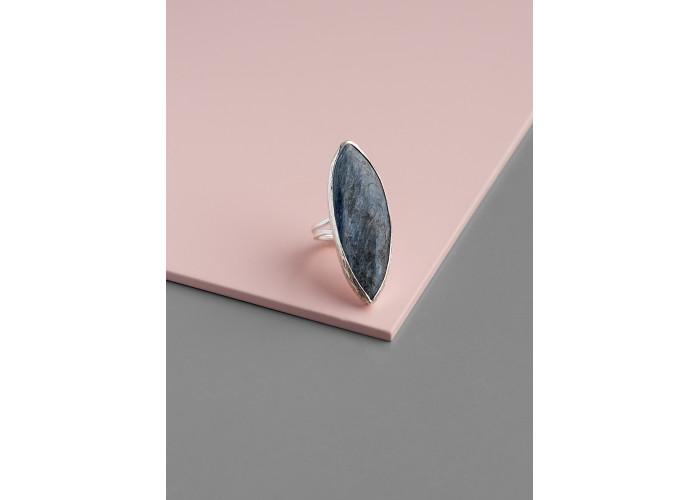 Кольцо с листиком кианита // серебро