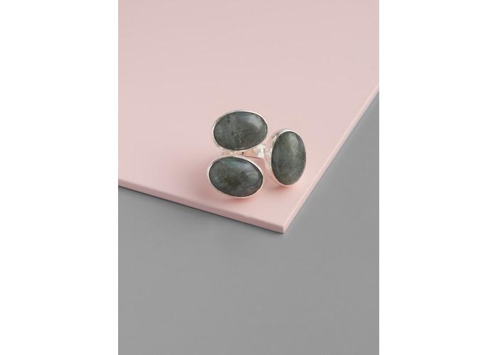 Кольцо с овалами лабрадорита // серебро