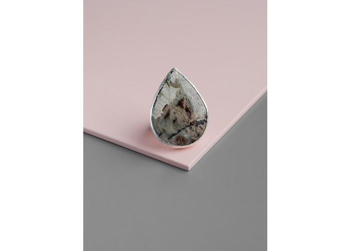 Кольцо с каплей пейзажной яшмы // серебро